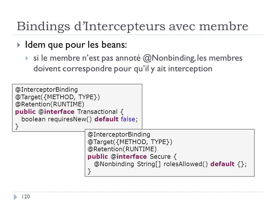 Bindings dIntercepteurs avec membre Idem que pour les beans: si le membre nest pas annoté @Nonbinding, les membres doivent correspondre pour quil y ai