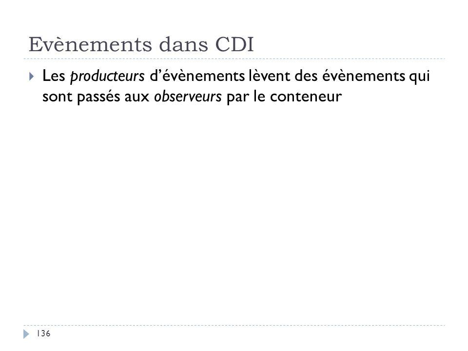 Evènements dans CDI Les producteurs dévènements lèvent des évènements qui sont passés aux observeurs par le conteneur 136