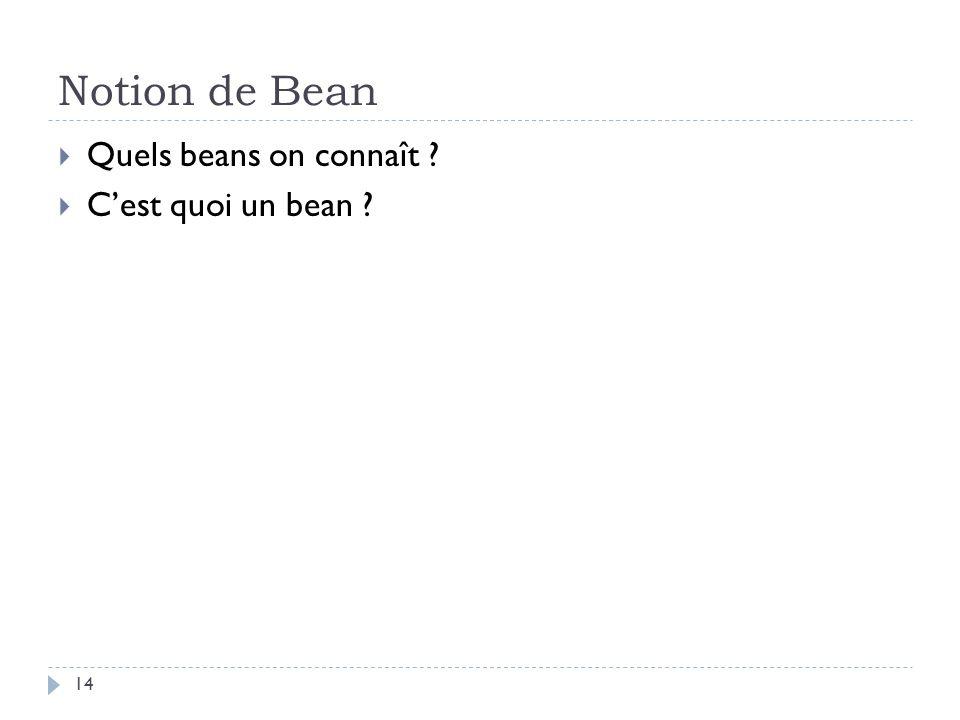Notion de Bean Quels beans on connaît ? Cest quoi un bean ? 14