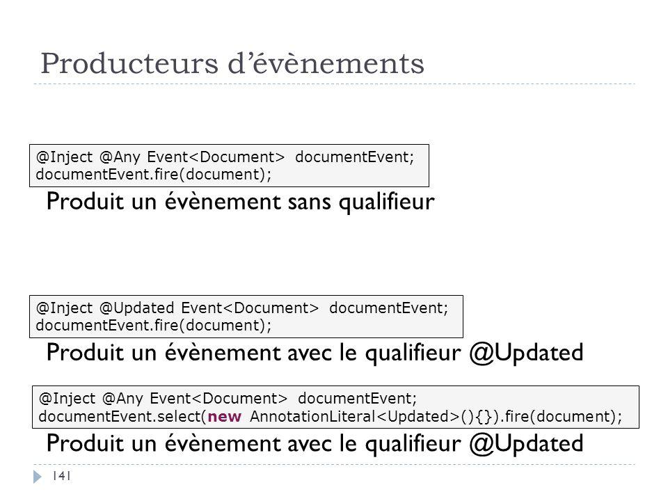 Producteurs dévènements @Inject @Updated Event documentEvent; documentEvent.fire(document); @Inject @Any Event documentEvent; documentEvent.fire(docum