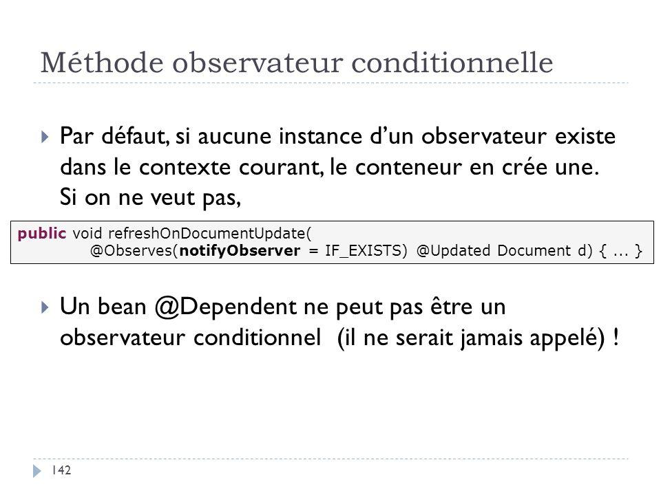Méthode observateur conditionnelle Par défaut, si aucune instance dun observateur existe dans le contexte courant, le conteneur en crée une. Si on ne