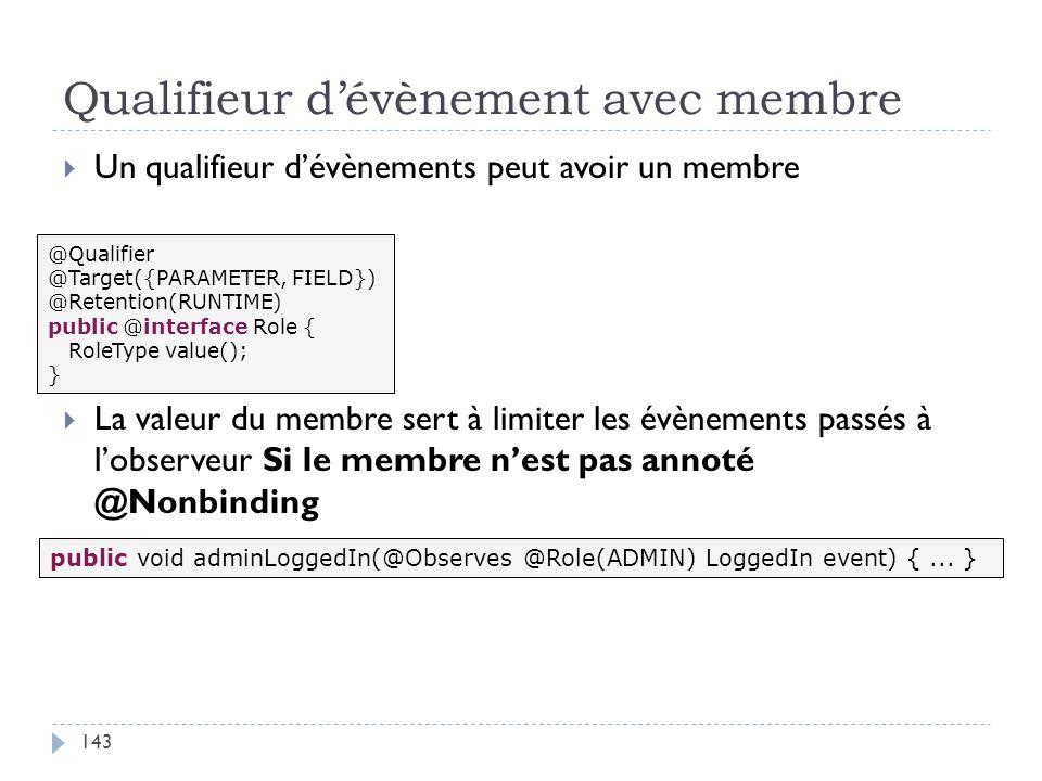 Qualifieur dévènement avec membre Un qualifieur dévènements peut avoir un membre La valeur du membre sert à limiter les évènements passés à lobserveur