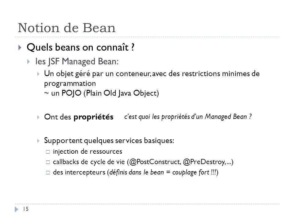 Notion de Bean Quels beans on connaît ? les JSF Managed Bean: Un objet géré par un conteneur, avec des restrictions minimes de programmation ~ un POJO