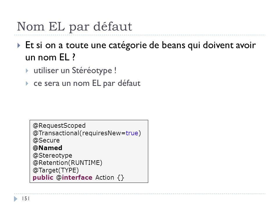 Nom EL par défaut Et si on a toute une catégorie de beans qui doivent avoir un nom EL ? utiliser un Stéréotype ! ce sera un nom EL par défaut @Request
