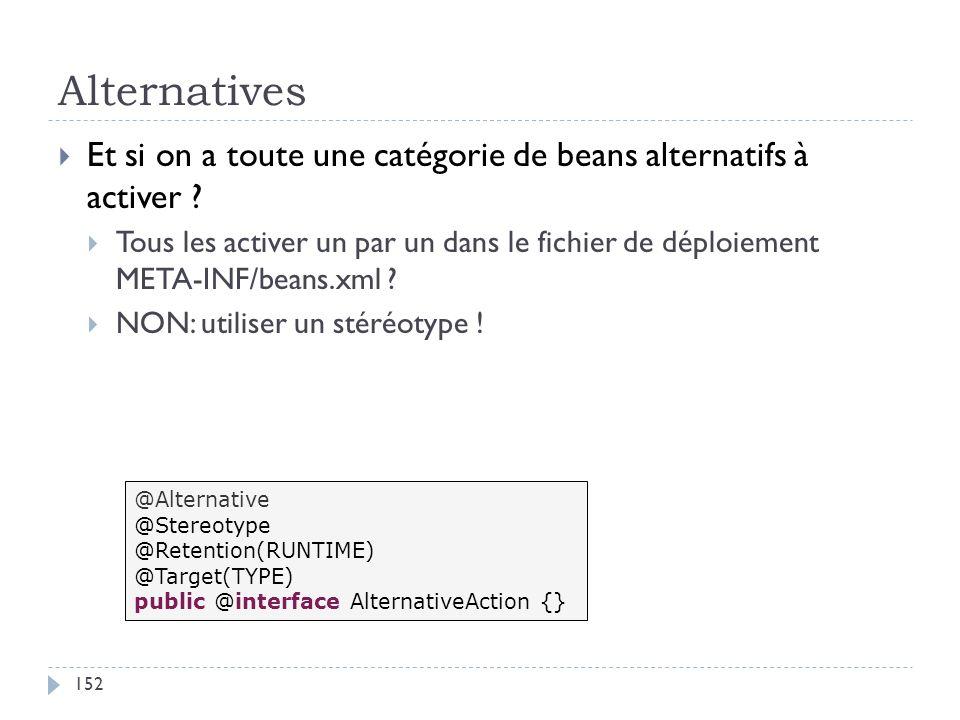 Alternatives Et si on a toute une catégorie de beans alternatifs à activer ? Tous les activer un par un dans le fichier de déploiement META-INF/beans.