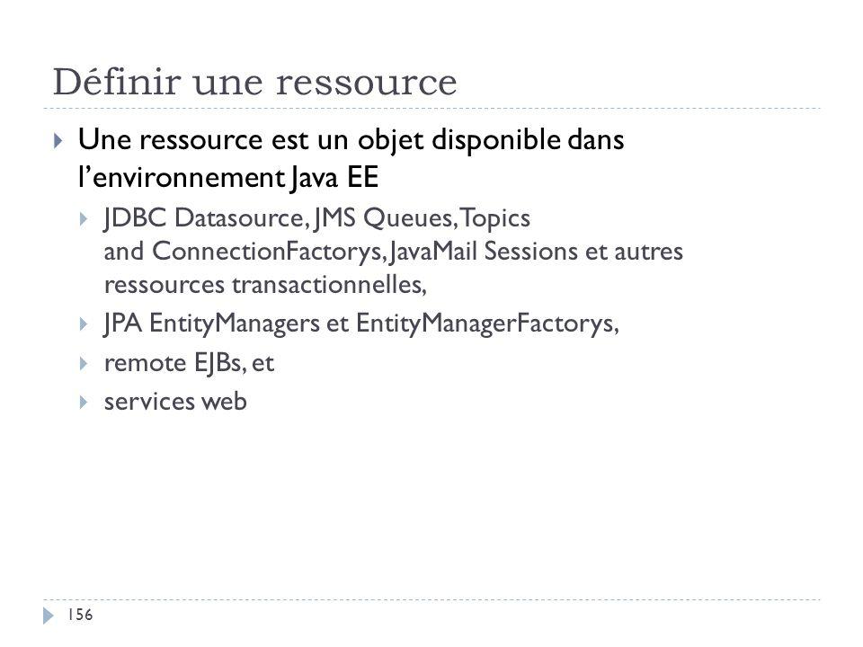 Définir une ressource Une ressource est un objet disponible dans lenvironnement Java EE JDBC Datasource, JMS Queues, Topics and ConnectionFactorys, Ja