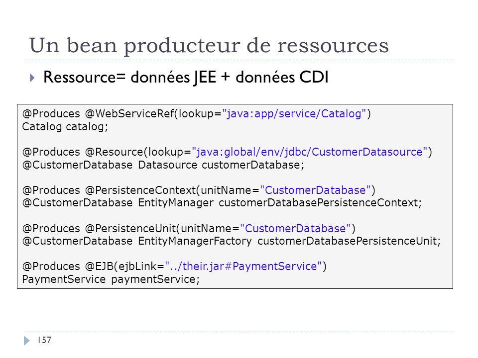 Un bean producteur de ressources Ressource= données JEE + données CDI @Produces @WebServiceRef(lookup=