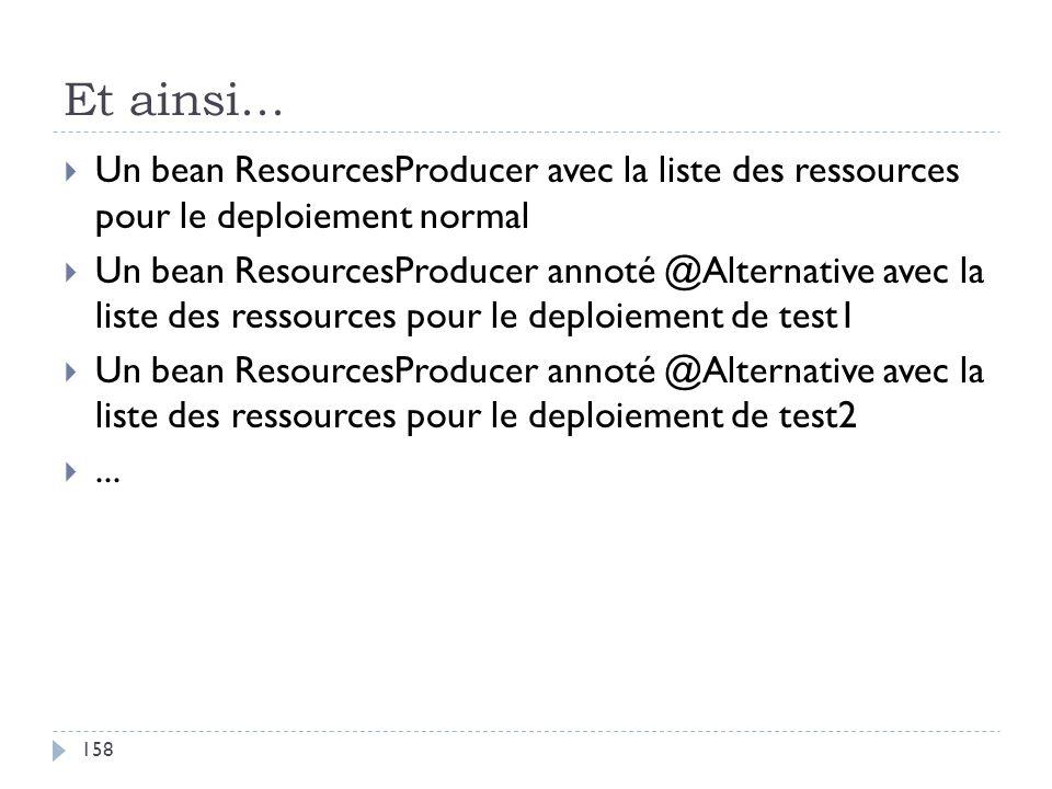Et ainsi... Un bean ResourcesProducer avec la liste des ressources pour le deploiement normal Un bean ResourcesProducer annoté @Alternative avec la li
