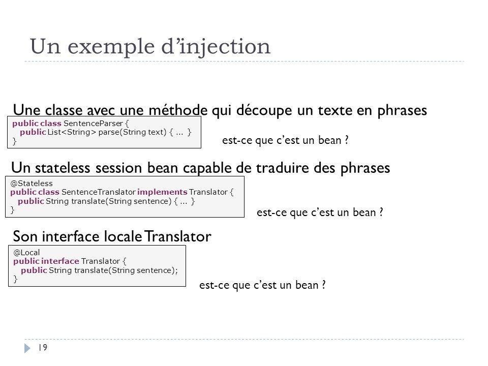 Un exemple dinjection public class SentenceParser { public List parse(String text) {... } } @Stateless public class SentenceTranslator implements Tran