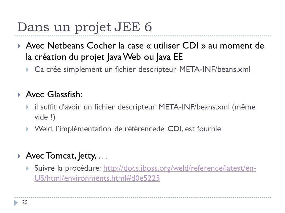 Dans un projet JEE 6 25 Avec Netbeans Cocher la case « utiliser CDI » au moment de la création du projet Java Web ou Java EE Ça crée simplement un fic
