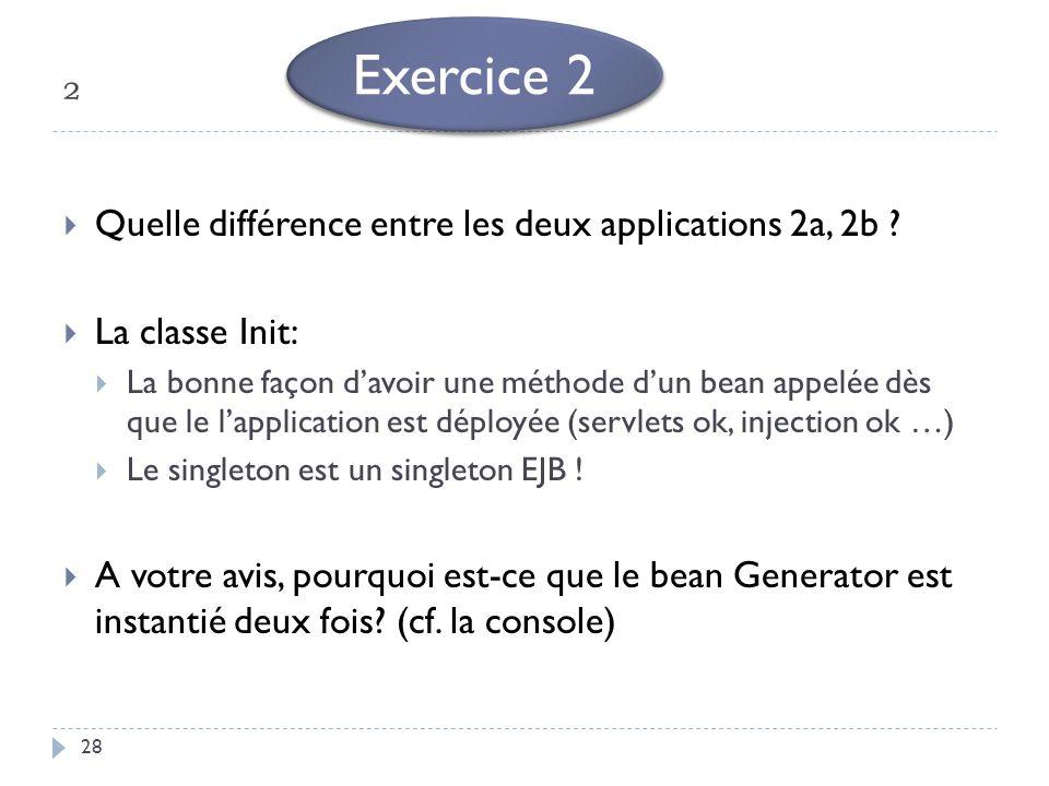 ² 28 Quelle différence entre les deux applications 2a, 2b ? La classe Init: La bonne façon davoir une méthode dun bean appelée dès que le lapplication