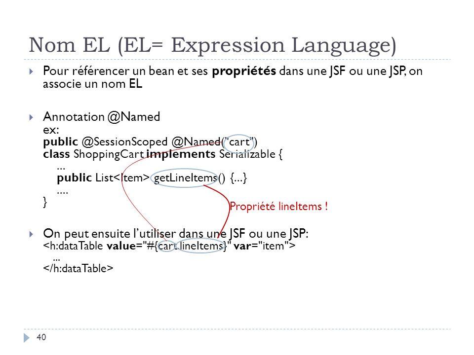 Nom EL (EL= Expression Language) Pour référencer un bean et ses propriétés dans une JSF ou une JSP, on associe un nom EL Annotation @Named ex: public