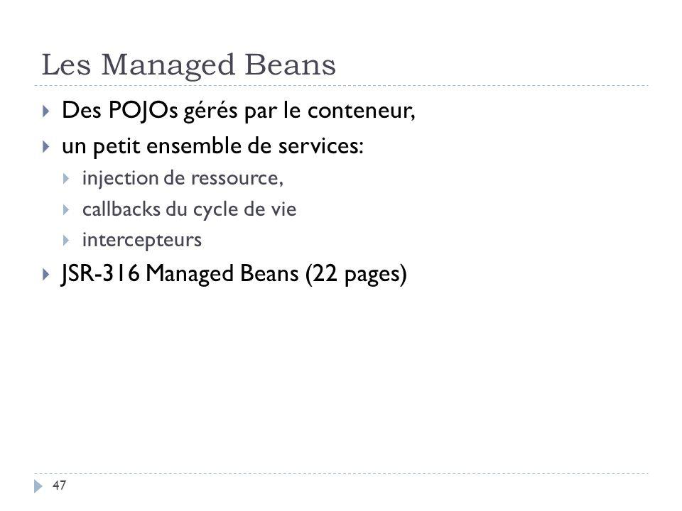 Les Managed Beans Des POJOs gérés par le conteneur, un petit ensemble de services: injection de ressource, callbacks du cycle de vie intercepteurs JSR