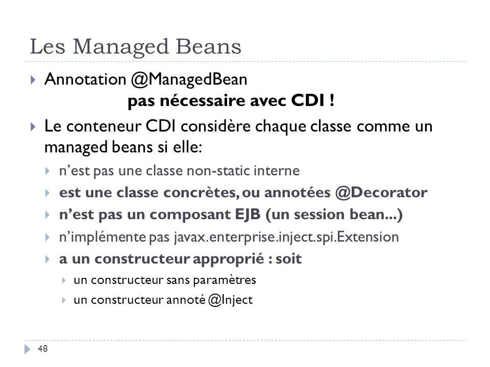 Les Managed Beans Annotation @ManagedBean pas nécessaire avec CDI ! Le conteneur CDI considère chaque classe comme un managed beans si elle: nest pas