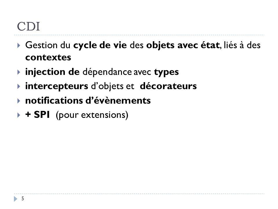 CDI Gestion du cycle de vie des objets avec état, liés à des contextes injection de dépendance avec types intercepteurs dobjets et décorateurs notific