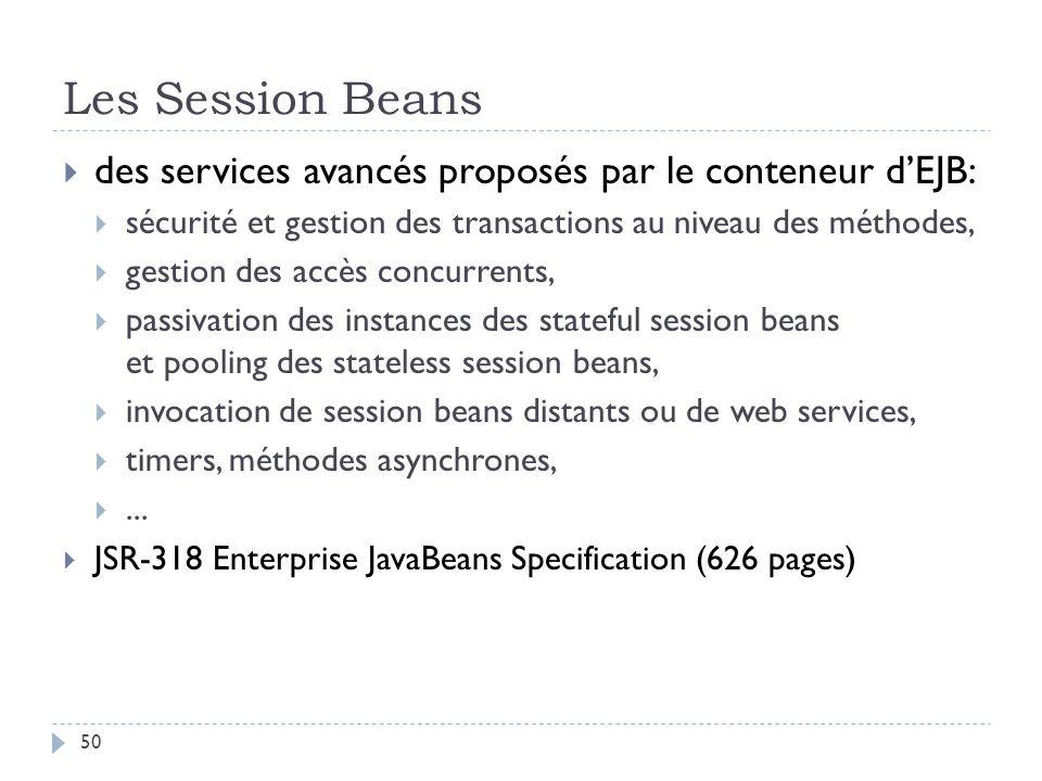Les Session Beans des services avancés proposés par le conteneur dEJB: sécurité et gestion des transactions au niveau des méthodes, gestion des accès