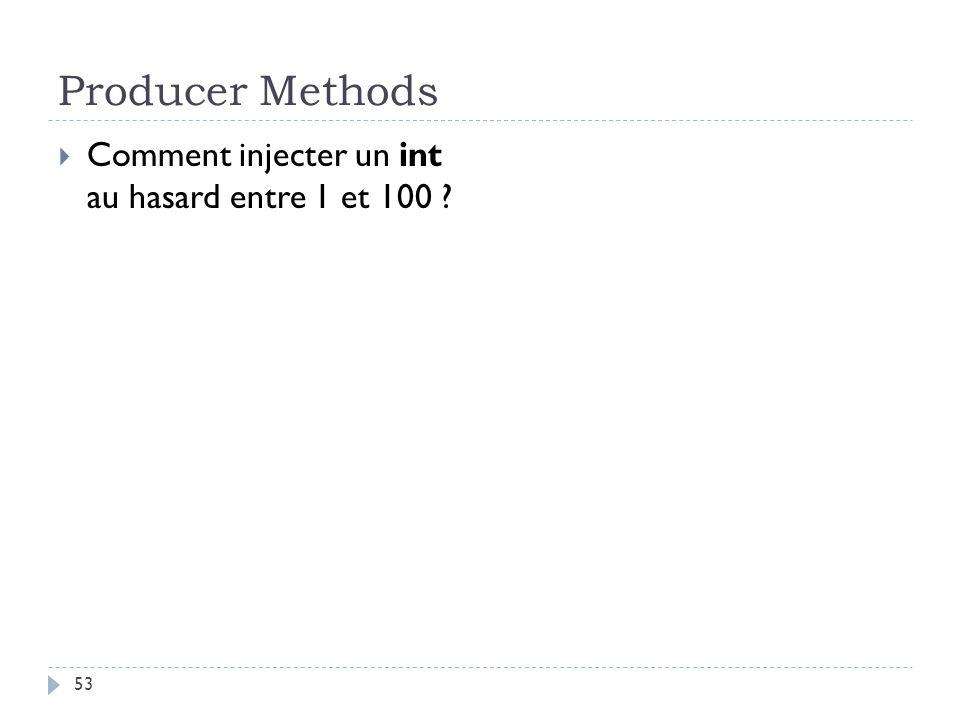 Producer Methods Comment injecter un int au hasard entre 1 et 100 ? 53