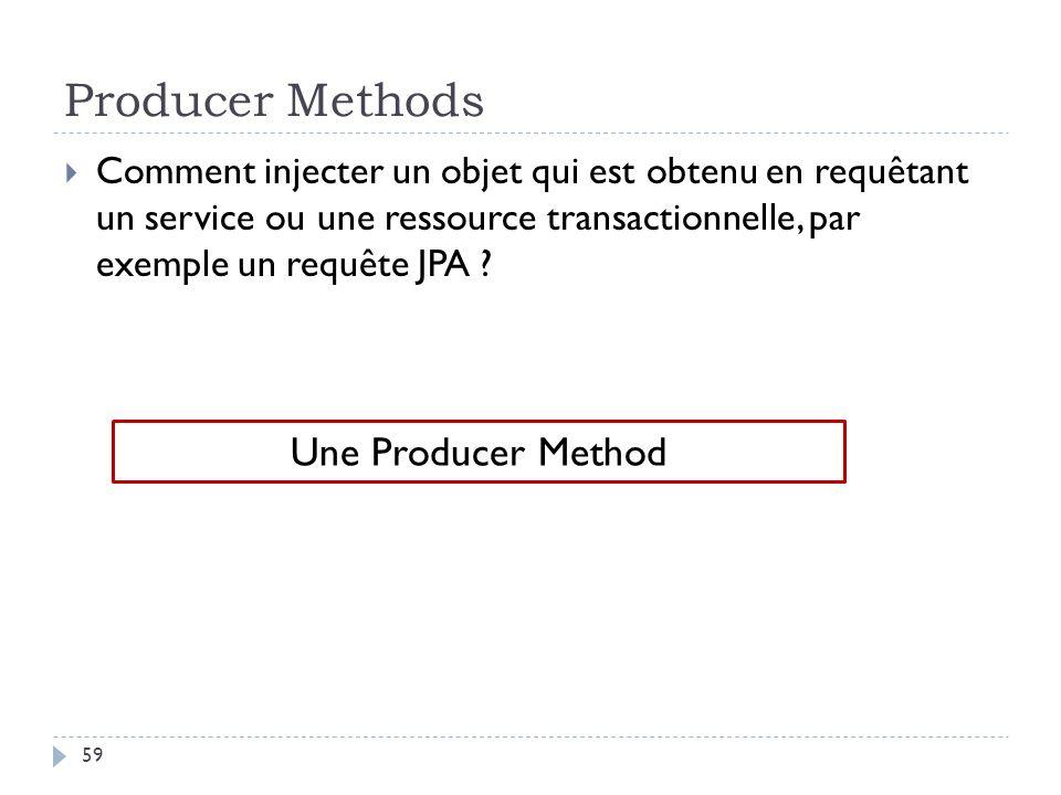 Producer Methods Comment injecter un objet qui est obtenu en requêtant un service ou une ressource transactionnelle, par exemple un requête JPA ? Une