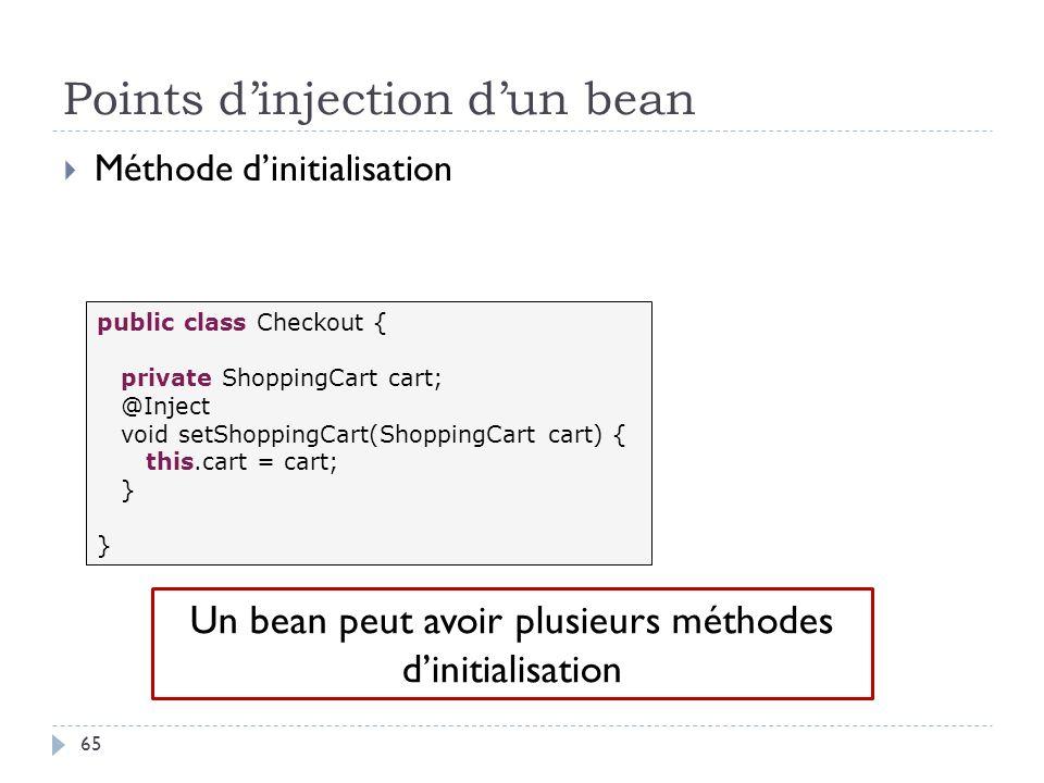 Points dinjection dun bean Méthode dinitialisation public class Checkout { private ShoppingCart cart; @Inject void setShoppingCart(ShoppingCart cart)