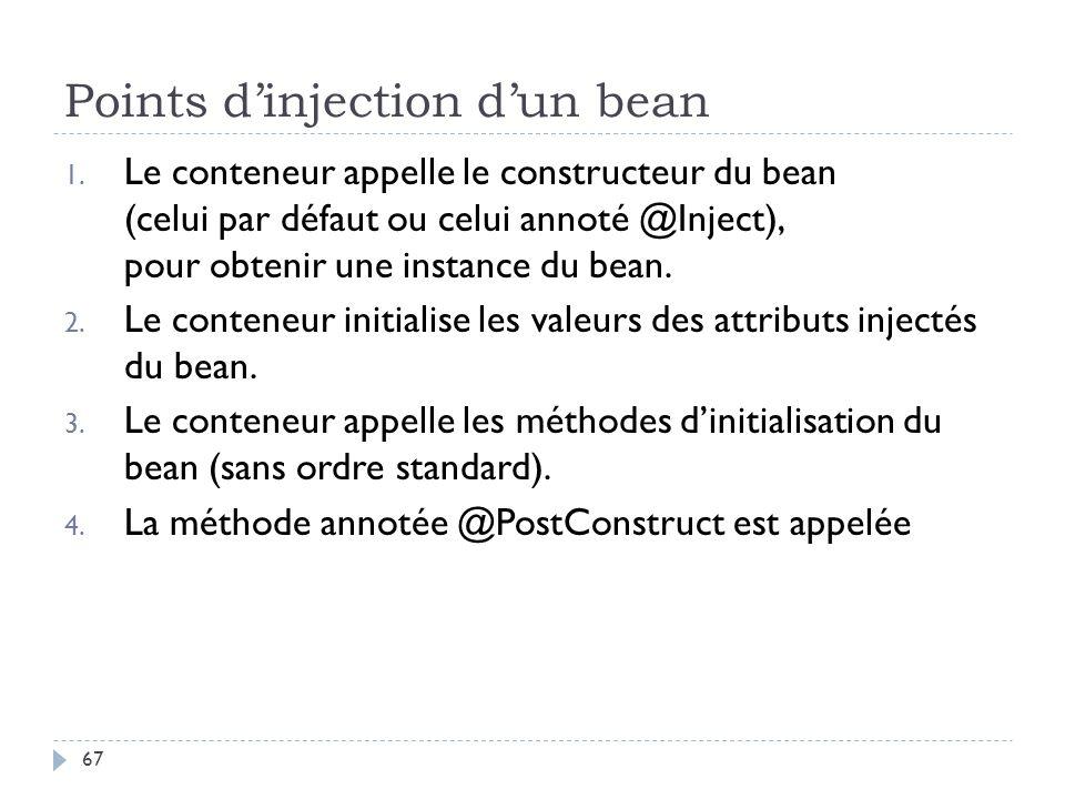 Points dinjection dun bean 1. Le conteneur appelle le constructeur du bean (celui par défaut ou celui annoté @Inject), pour obtenir une instance du be
