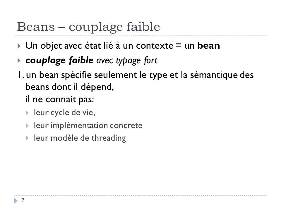 Beans – couplage faible Un objet avec état lié à un contexte = un bean couplage faible avec typage fort 1. un bean spécifie seulement le type et la sé
