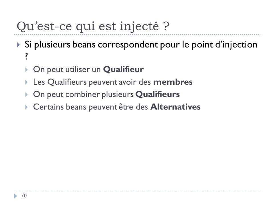 Quest-ce qui est injecté ? Si plusieurs beans correspondent pour le point dinjection ? On peut utiliser un Qualifieur Les Qualifieurs peuvent avoir de