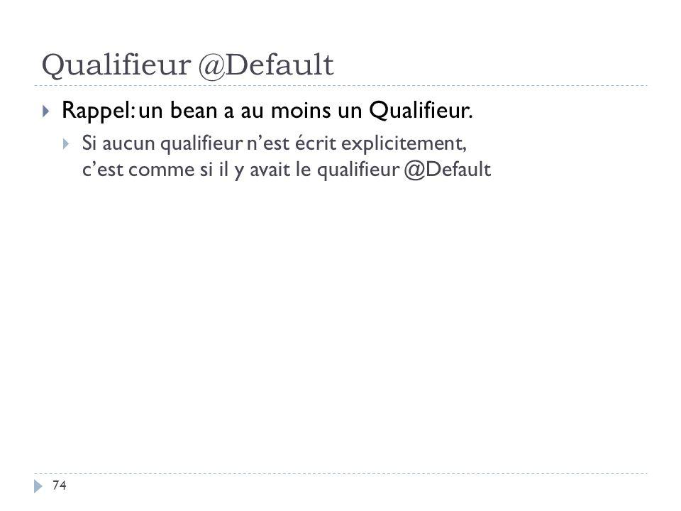 Qualifieur @Default Rappel: un bean a au moins un Qualifieur. Si aucun qualifieur nest écrit explicitement, cest comme si il y avait le qualifieur @De
