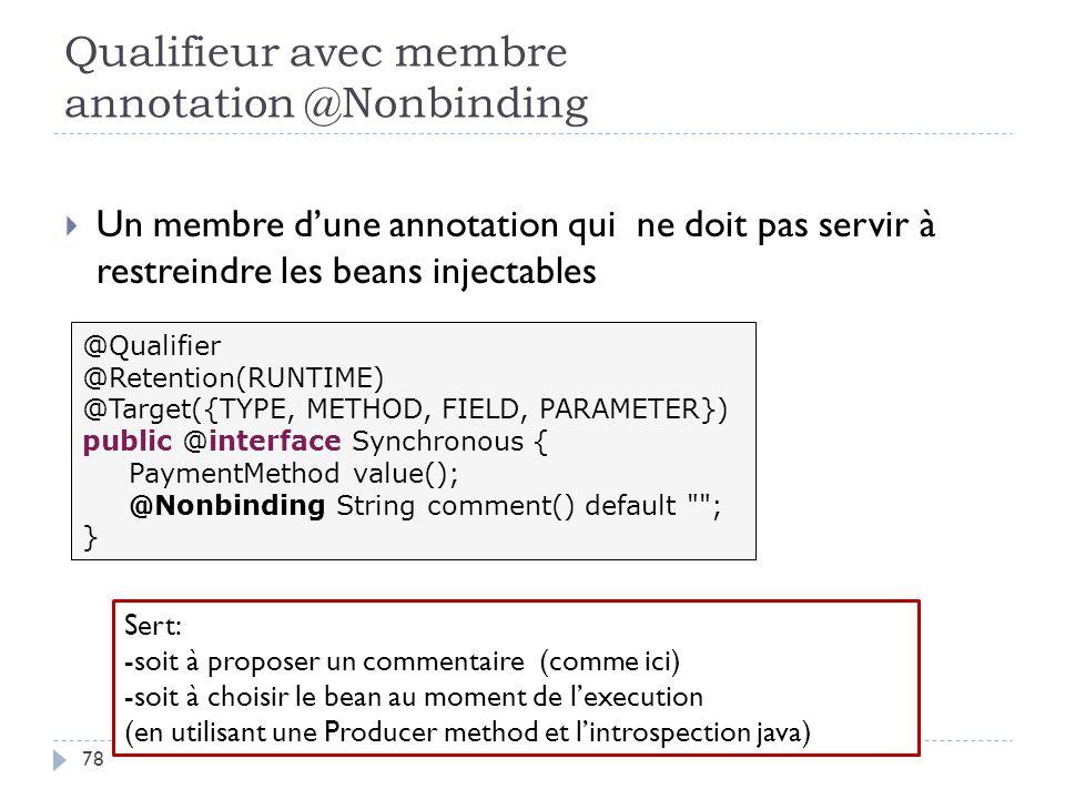 Qualifieur avec membre annotation @Nonbinding Un membre dune annotation qui ne doit pas servir à restreindre les beans injectables @Qualifier @Retenti