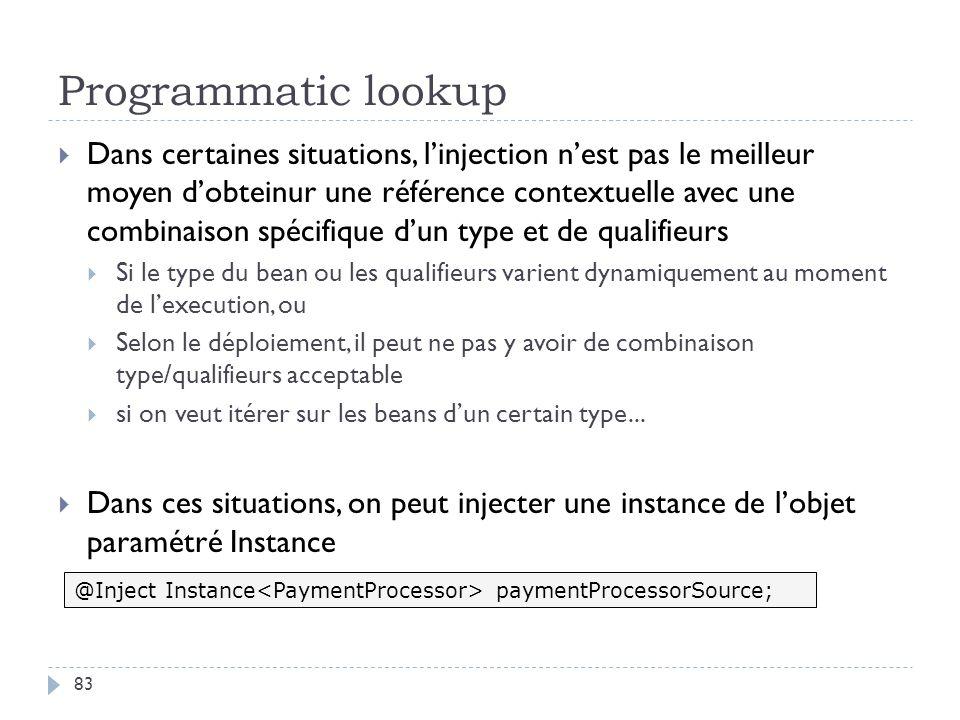 Programmatic lookup Dans certaines situations, linjection nest pas le meilleur moyen dobteinur une référence contextuelle avec une combinaison spécifi