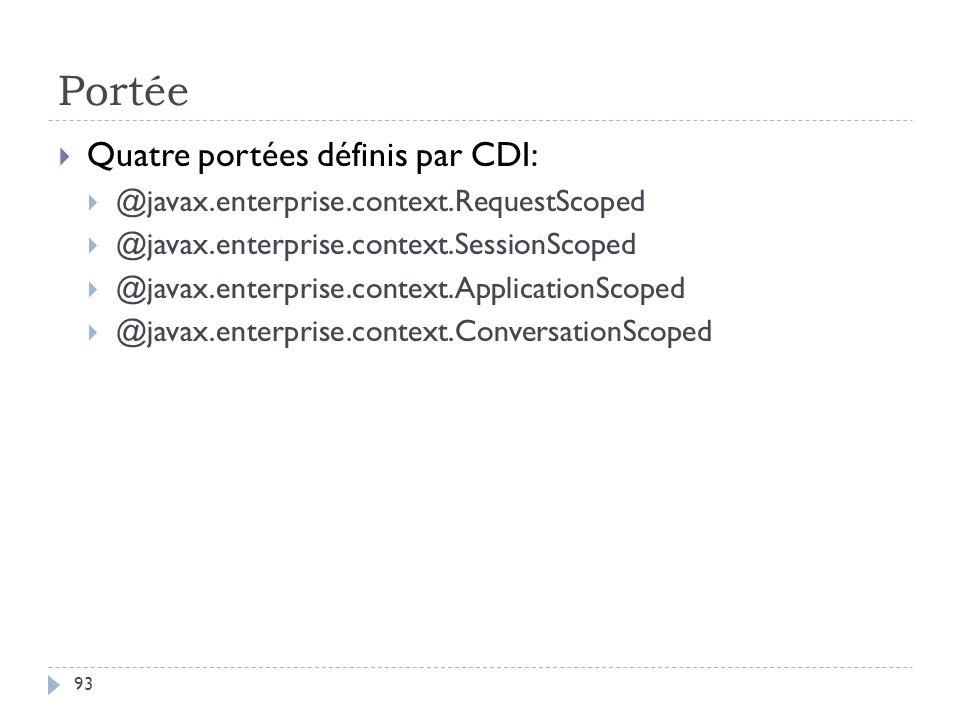 Portée Quatre portées définis par CDI: @javax.enterprise.context.RequestScoped @javax.enterprise.context.SessionScoped @javax.enterprise.context.Appli