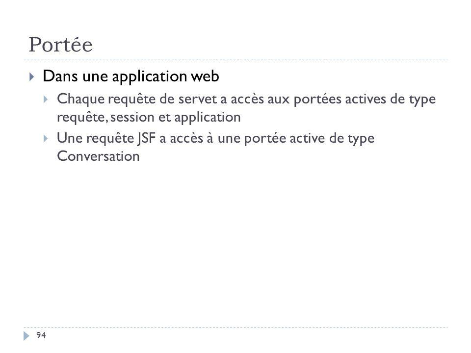 Portée Dans une application web Chaque requête de servet a accès aux portées actives de type requête, session et application Une requête JSF a accès à