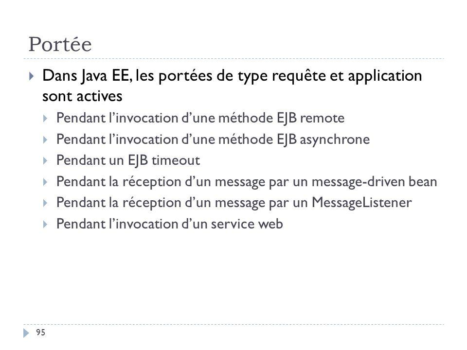 Portée Dans Java EE, les portées de type requête et application sont actives Pendant linvocation dune méthode EJB remote Pendant linvocation dune méth