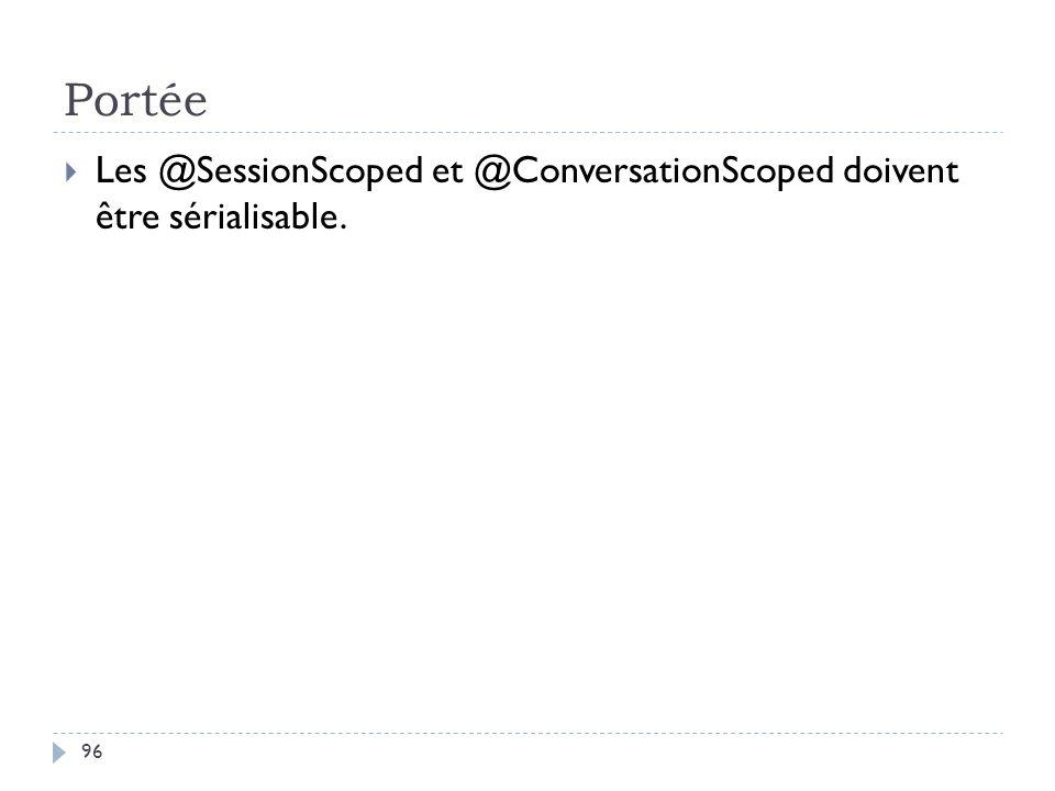 Portée Les @SessionScoped et @ConversationScoped doivent être sérialisable. 96