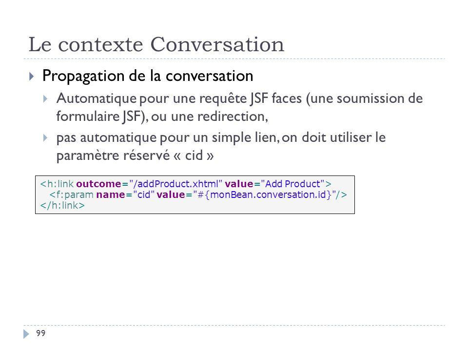 Le contexte Conversation Propagation de la conversation Automatique pour une requête JSF faces (une soumission de formulaire JSF), ou une redirection,