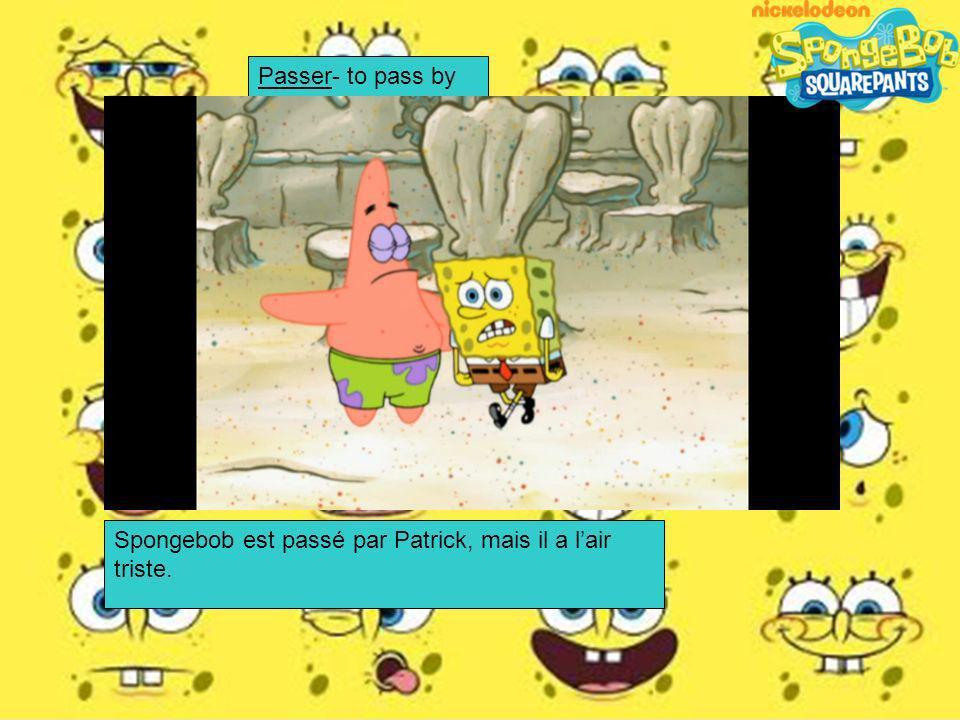 Spongebob Squarepants est parti dans la voiture de Madame Puff. Partir- to leave