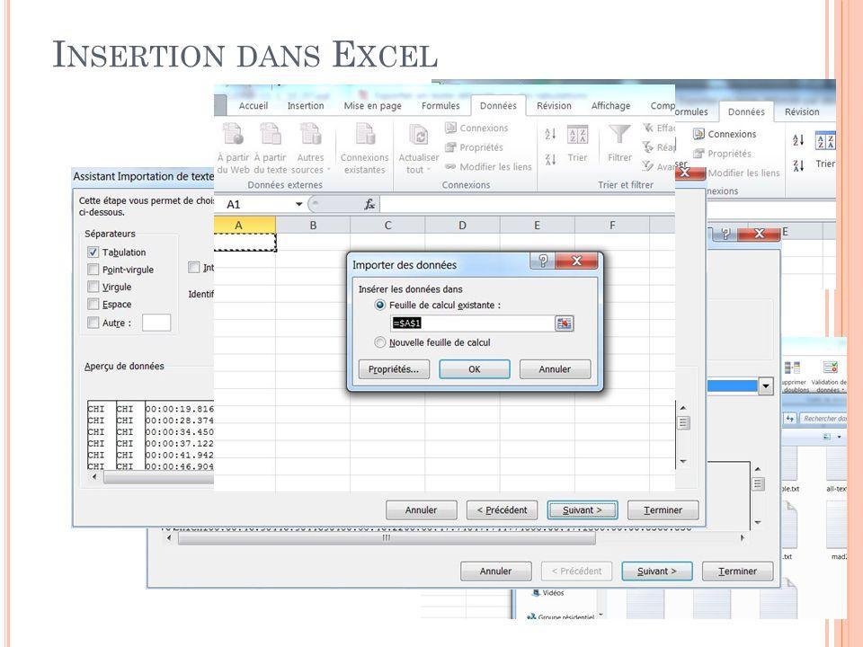 I NSERTION DANS E XCEL Créer une feuille vierge dans Excel Aller dans « Données » et « à partir du texte » Choisir le fichier Choisir lencodage (UTF8) Choisir délimité par des tabulations seulement Insérer dans la fenêtre courante