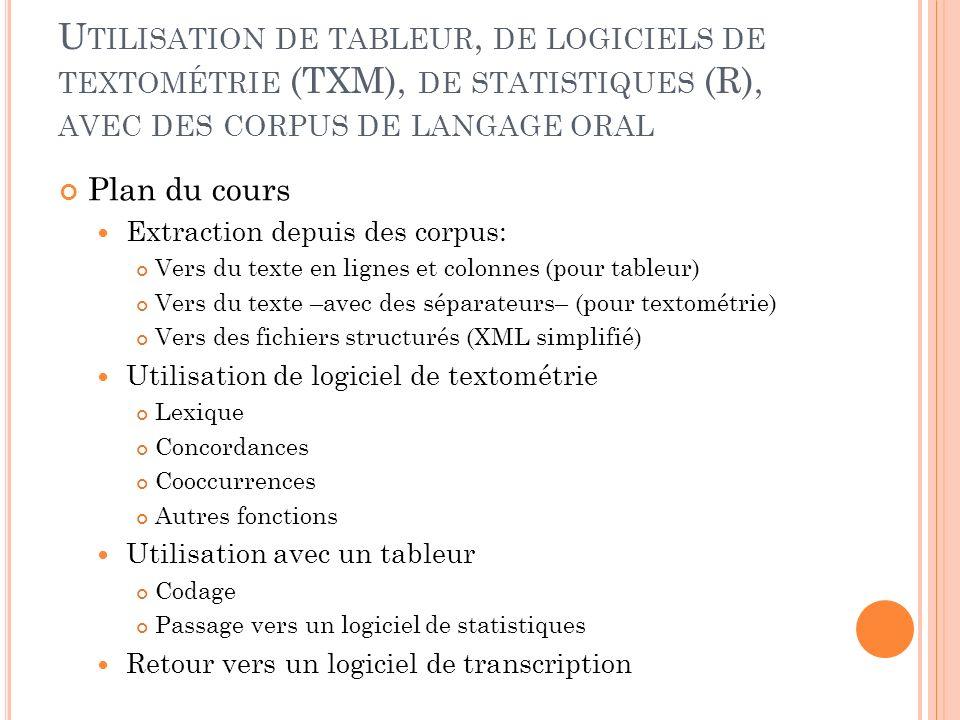 T ÉLÉCHARGEMENTS Elan: http://tla.mpi.nl/tools/tla-tools/elan/download/http://tla.mpi.nl/tools/tla-tools/elan/download/ Présentation des données en partitions, codage des gestes, des interactions et représentation temporelle fine des données Clan: http://childes.psy.cmu.edu/clan/http://childes.psy.cmu.edu/clan/ Codage textuel complet du langage oral (en particulier acquisition du langage).