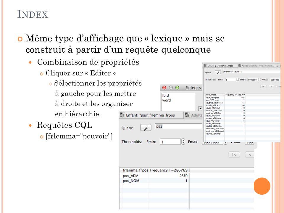 L EXIQUE : AUTRES ÉLÉMENTS Le lexique peut être généré à partir dautres éléments (cliquer sur edit) Catégories part of speech Lemmes Mots