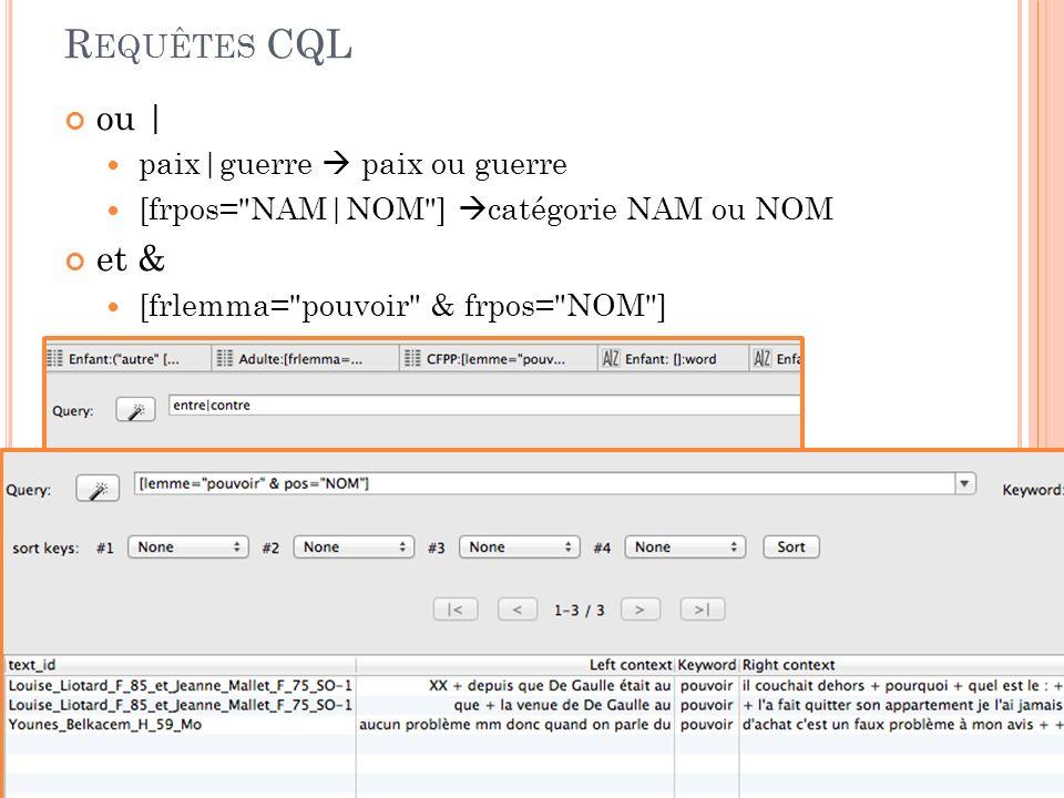 R EQUÊTES CQL Ces requêtes sont utilisées pour toutes les commandes de recherche de TXM (CQL = Corpus Query Language) Requête de base: Un seul mot sans autre indication .