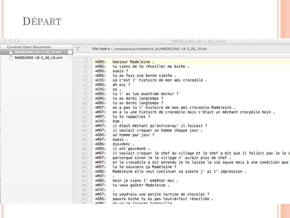 L ANCEMENT DANS R setwd( /corpusoraux/madeleine_all/ ) files <- list.files(pattern= *.txt ) for (f in files) { newfn <- substr(f,1,nchar(f)-4) age <- substr(f,14,nchar(f)-4) fnout <- paste(newfn, .xml , sep= ) sink(fnout) toxml(f, newfn, age) sink() }