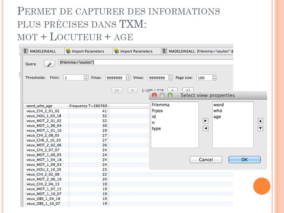 R ÉSULTAT U TILISATION DE XML/ W POUR L IMPORTATION DES DONNÉES