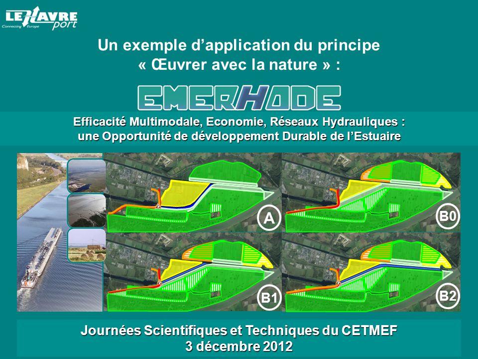 Efficacité Multimodale, Economie, Réseaux Hydrauliques : une Opportunité de développement Durable de lEstuaire B1 A B0 B2 Journées Scientifiques et Techniques du CETMEF 3 décembre 2012 Un exemple dapplication du principe « Œuvrer avec la nature » :