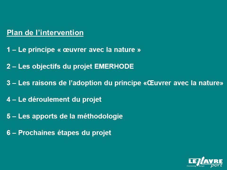 Plan de lintervention 1 – Le principe « œuvrer avec la nature » 2 – Les objectifs du projet EMERHODE 3 – Les raisons de ladoption du principe «Œuvrer avec la nature» 4 – Le déroulement du projet 5 – Les apports de la méthodologie 6 – Prochaines étapes du projet