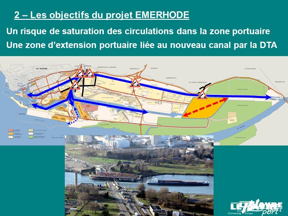 Améliorer la fluidité des circulations dans la zone portuaire Augmenter la capacité daccueil pour de nouvelles activités industrialo portuaires Améliorer les fonctionnalités environnementales de cette partie de la plaine alluviale de lestuaire 2 – Les objectifs du projet EMERHODE