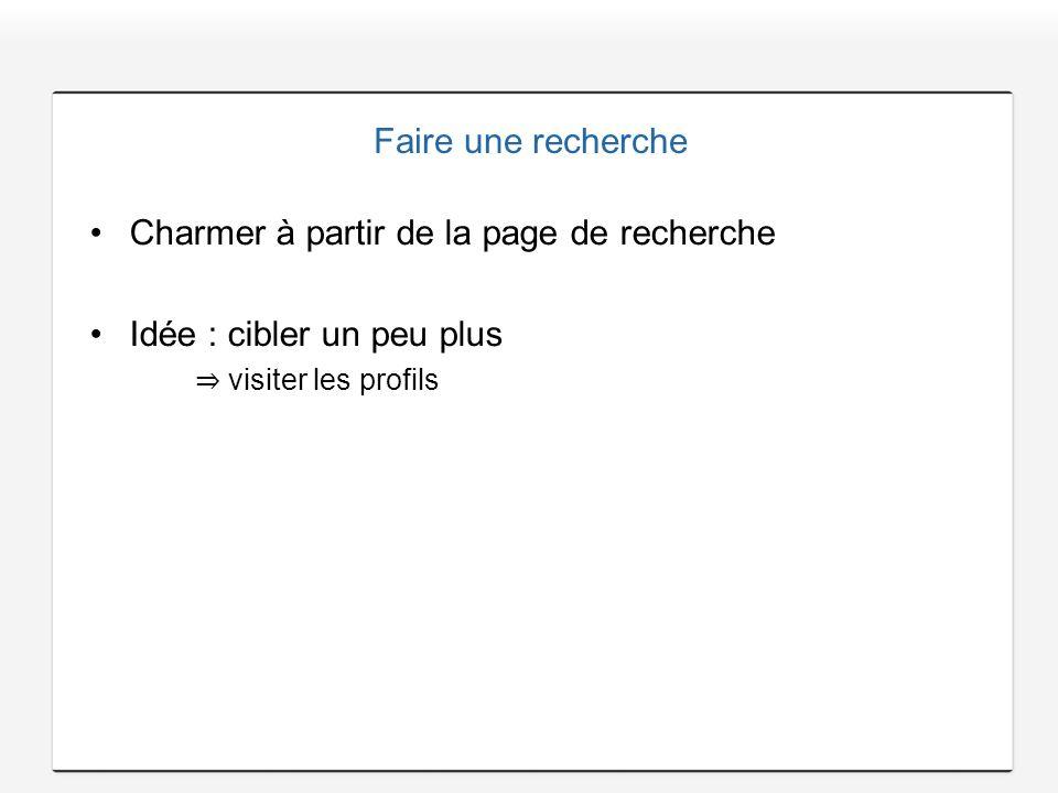 Faire une recherche Charmer à partir de la page de recherche Idée : cibler un peu plus visiter les profils