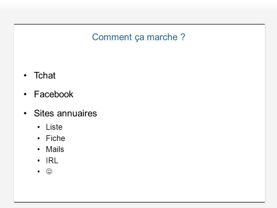 Comment ça marche ? Tchat Facebook Sites annuaires Liste Fiche Mails IRL