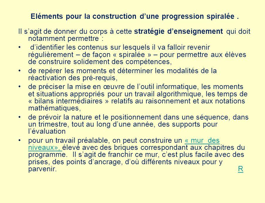 Eléments pour la construction dune progression spiralée.