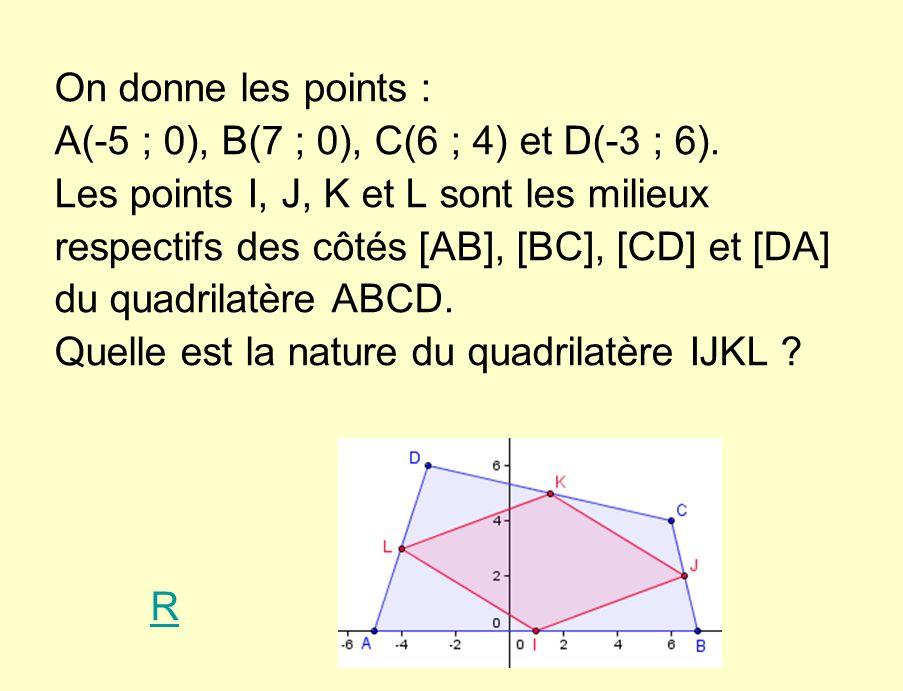 On donne les points : A(-5 ; 0), B(7 ; 0), C(6 ; 4) et D(-3 ; 6).