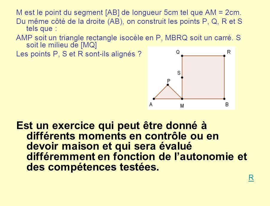 M est le point du segment [AB] de longueur 5cm tel que AM = 2cm.
