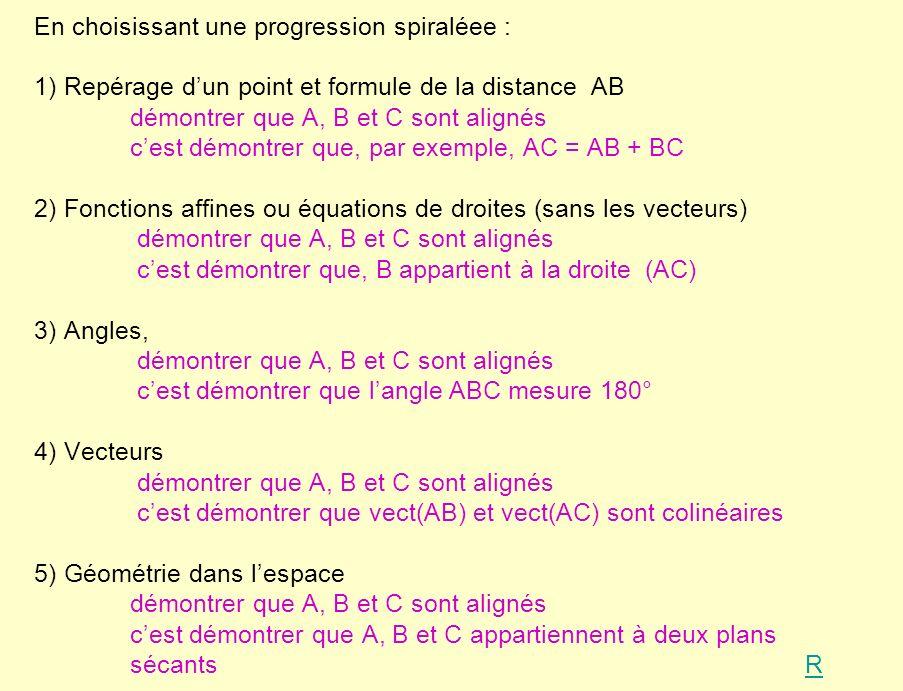 En choisissant une progression spiraléee : 1) Repérage dun point et formule de la distance AB démontrer que A, B et C sont alignés cest démontrer que, par exemple, AC = AB + BC 2) Fonctions affines ou équations de droites (sans les vecteurs) démontrer que A, B et C sont alignés cest démontrer que, B appartient à la droite (AC) 3) Angles, démontrer que A, B et C sont alignés cest démontrer que langle ABC mesure 180° 4) Vecteurs démontrer que A, B et C sont alignés cest démontrer que vect(AB) et vect(AC) sont colinéaires 5) Géométrie dans lespace démontrer que A, B et C sont alignés cest démontrer que A, B et C appartiennent à deux plans sécants RR